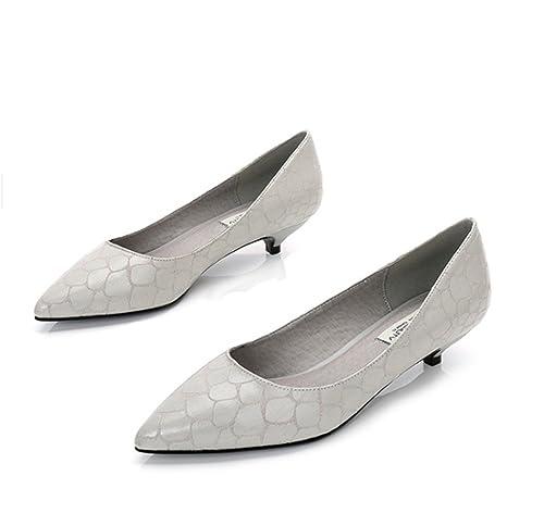 mogeek Mujer Zapatos de Tacón Bajo de Aguja Clásico Espigón de Fiesta y  Boda Para  Amazon.es  Zapatos y complementos 88b286d93774