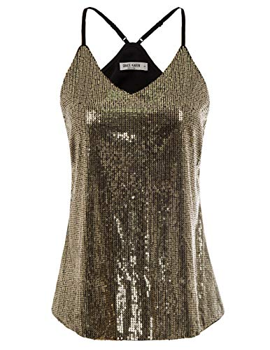 Women's Sexy Sequin Top Camisole Sleeveless Sparkle Shimmer Summer Clubwear Tank Tops Size L,Gold