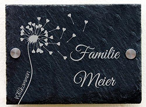 Wandabstandshalter, L/öcher und Ungelocht T/ürschild mit Namen Gravur PUSTEBLUME 20x15 cm #0060 Wahlweise