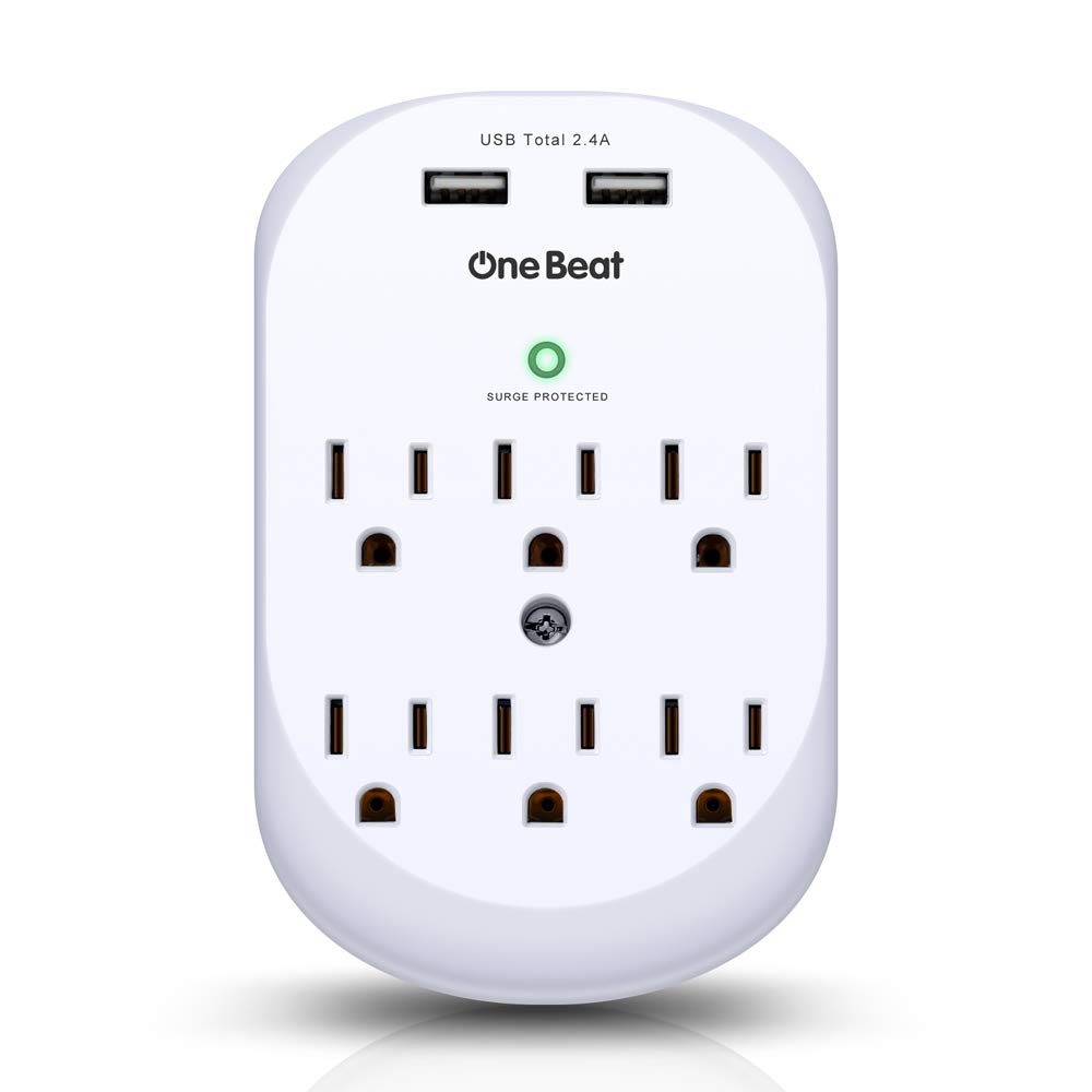 6 Outlet Surge Protector, One Beat Multi Outlet Wall Mount Adapter with 2 USB Charging Ports 2.4 A, 490 Joules, ETL Certified-White