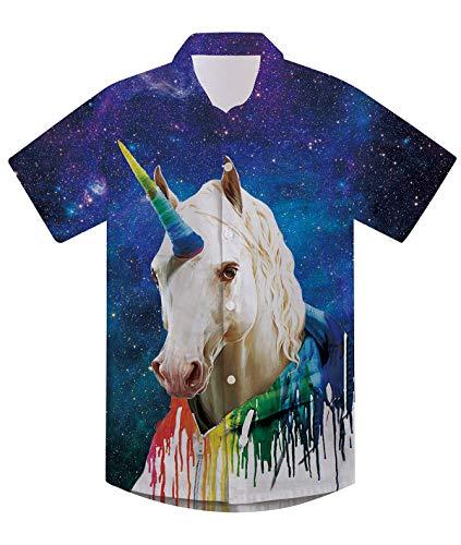 Boys Dress Shirt Ugly Unicorn Button Down T Shirt 90S Galaxy Playwear Short Sleeve Round Neck Thin Summer Tye Dye Beachwear Blue,Tye Dye,11-12 Years