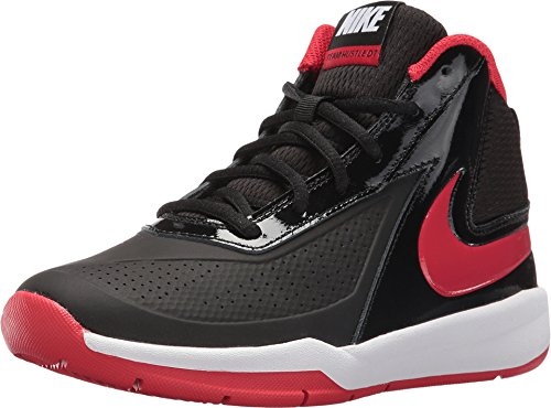 Nike Boy's Team Hustle D 7 Basketball Shoe Black/University Red/White Size 6.5 M US