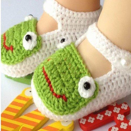 Baby Newborn Infant Girls Crochet Knit Socks Sandals Toddler Shoes Prewalker (Frog)