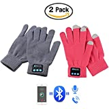 HMILYDYK 2PCS Winter Bluetooth Gloves Touchscreen Knit Gloves Built-in Speakers & Mic Handsfree Call for Smartphone, Christmas Gifts for Men Women