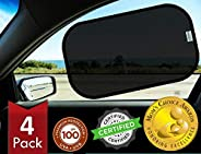kinder Fluff Car Window Sunshades (4X) -The Only Certified Sunshade to Block 99.79% UVA & 99.95% UVB -Mom&