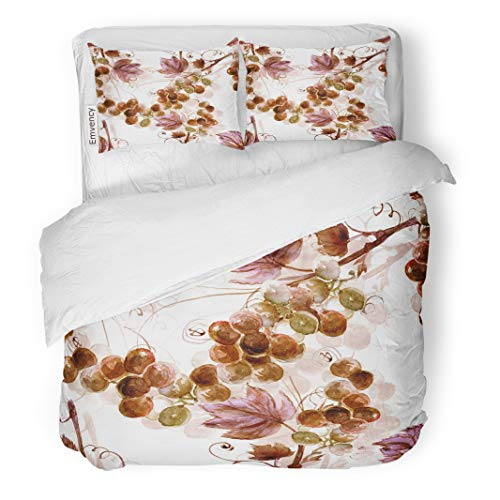 Semtomn Decor Duvet Cover Set Full/Queen Size Brown Wine Watercolor Grape Pink Pattern Abstract Winery Branch 3 Piece Brushed Microfiber Fabric Print Bedding Set Cover