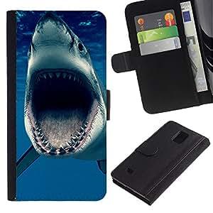 Planetar® Modelo colorido cuero carpeta tirón caso cubierta piel Holster Funda protección Para Samsung Galaxy Note 4 IV ( Jaws Océano Shark Blue Sea Predator )
