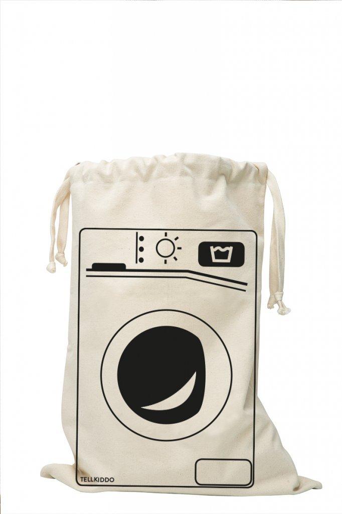 TELLKIDDO Tela Bolsa Lavadora, algodón, Negro/Blanco, 1x 48x 68cm