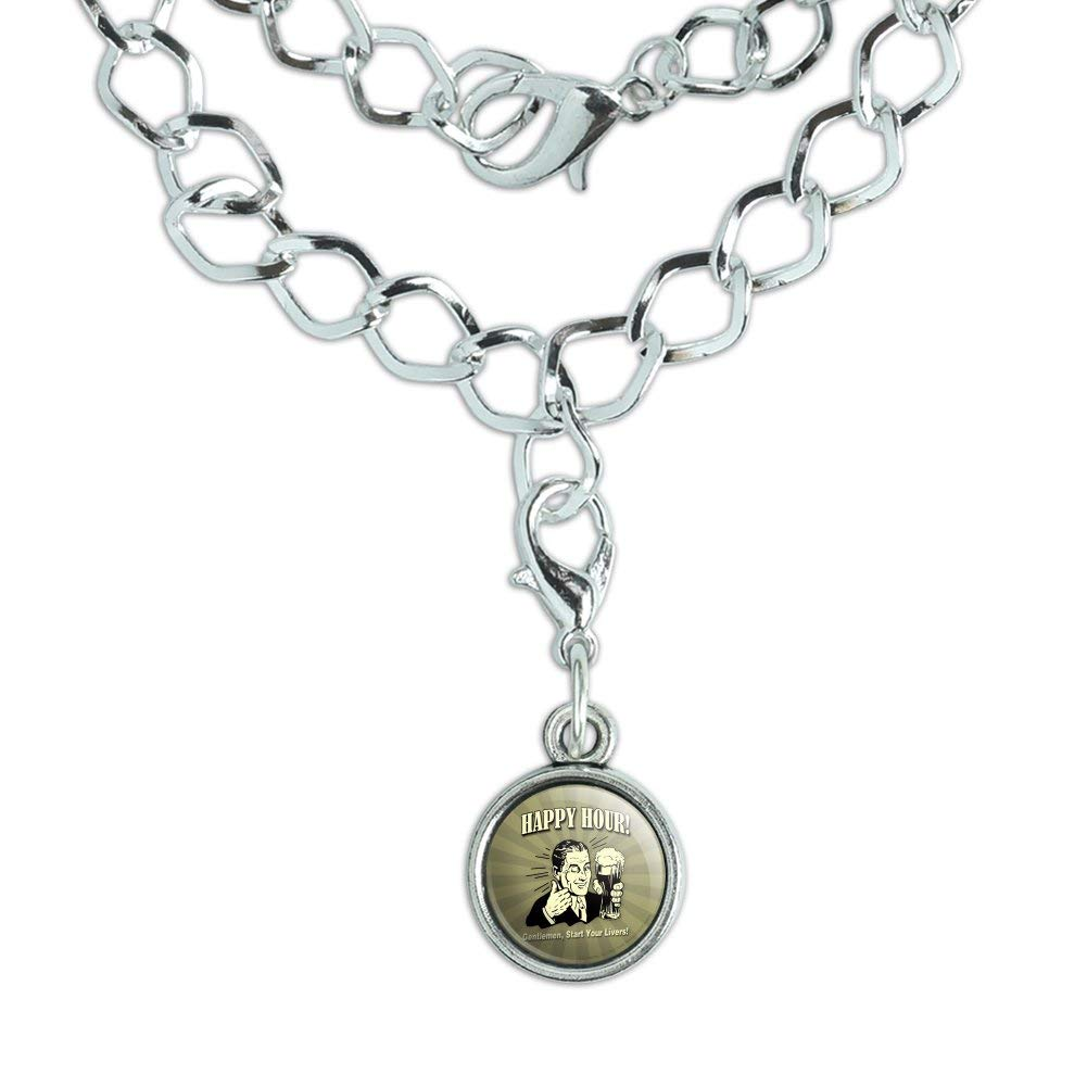GRAPHICS /& MORE Happy Hour Gentlemen Start Your Livers Funny Humor Silver Plated Bracelet with Antiqued Charm