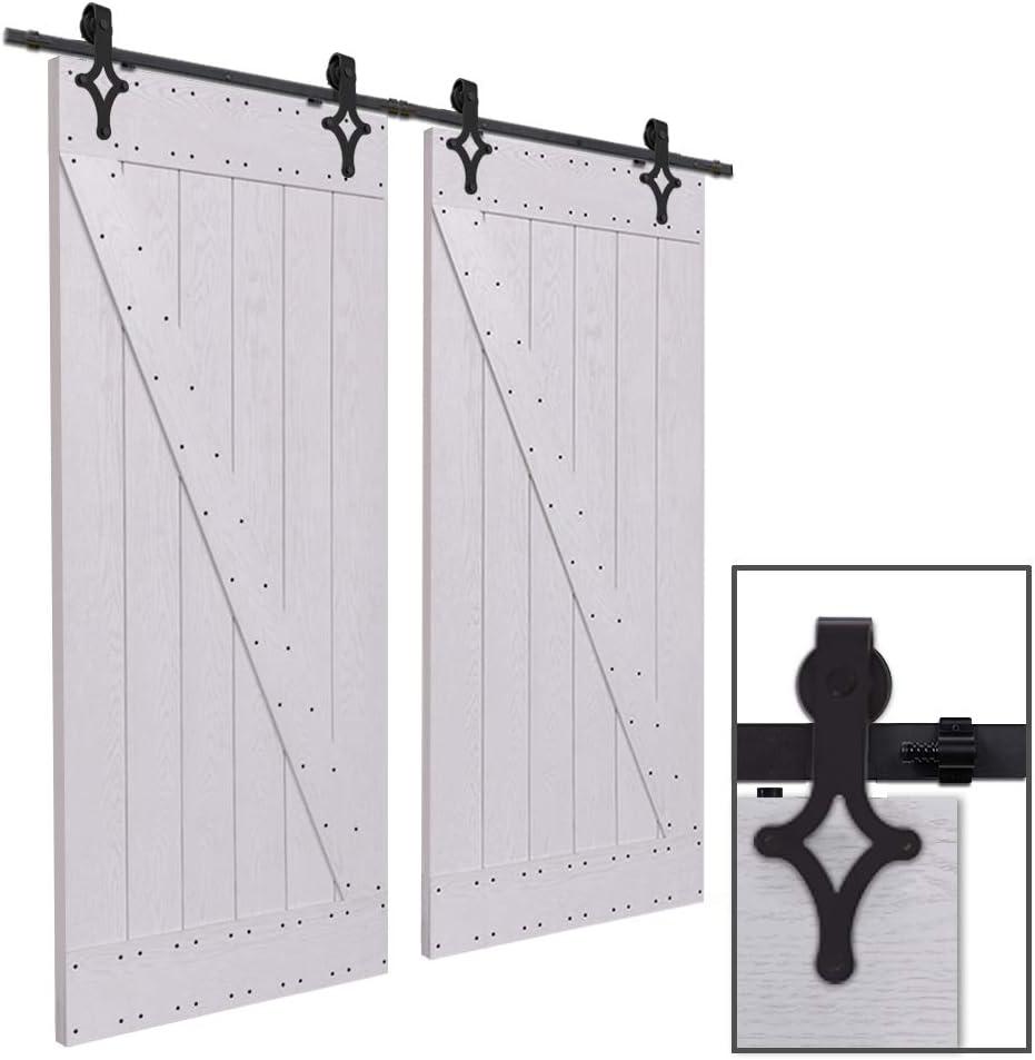 CCJH 13FT-397cm Herraje para Puerta Corredera Kit de Accesorios para Puertas Correderas Rueda Riel Juego para Dos Puertas de Madera: Amazon.es: Bricolaje y herramientas