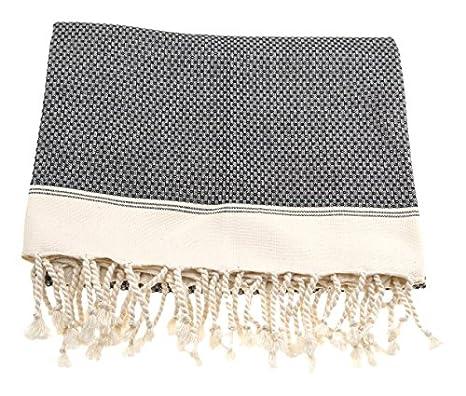 DolceMora Simple Life Honeycomb Border - Toalla Multiusos Peshtemal, 30 x 30 cm, Color Negro: Amazon.es: Hogar
