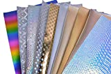 WENTO 11 Sheets 12 x 12(30x30cm)Assorted Color Textured Holographic Vinyl Sheets,1sq.ft Holographic Fabric For Sparkling decorations Patchwork Sewing DIY Craft