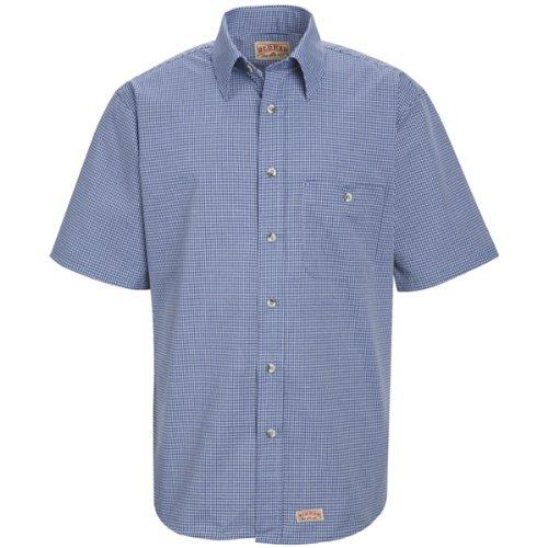 Red Kap Men's Mini-Plaid Uniform Shirt, Grey/Blue, Short Sleeve X-Large