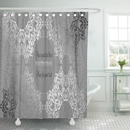 Emvency Shower Curtain Luxury Lace in Antique Gray and Silver Colors Vintage Waterproof Polyester Fabric 72 x 72 Inches Set with Hooks ()