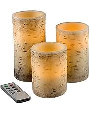 Lavish Home Flameless LED Candles Flickering Birch Bark, 3 Piece