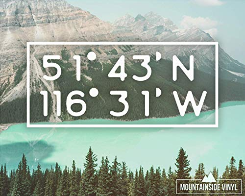 City Coordinates Vinyl Decal - Travel Decal, Latitude Longitude, Wanderlust Laptop Stickers, College Student Gift, adventure awaits decal, Hiking Flask Decal]()