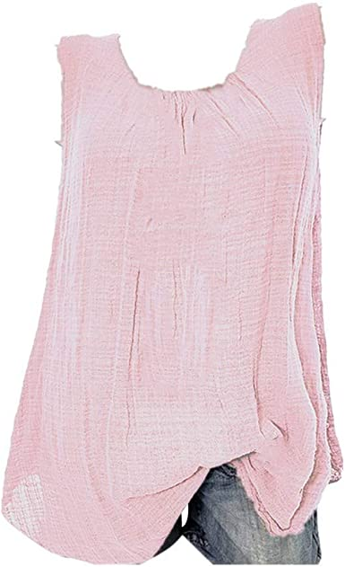 Tanktops - Camiseta de manga larga para mujer, corte holgado, de algodón y lino, sin mangas, cuello redondo: Amazon.es: Ropa y accesorios