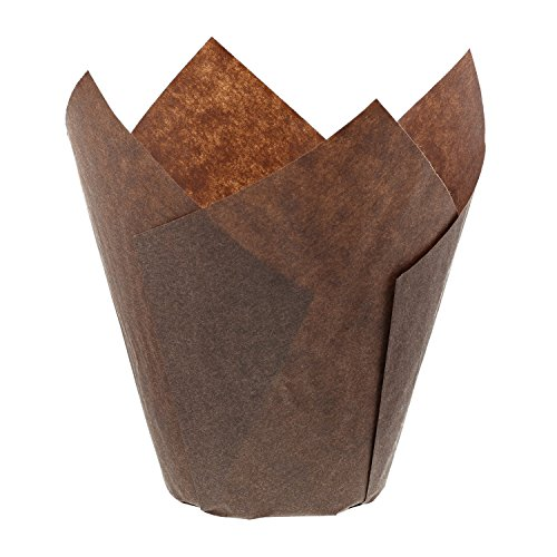 Royal Brown Tulip Style Baking Cups, Large, Sleeve of 200 - Jumbo Cupcake Wrappers