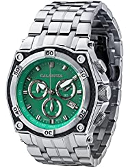 CALABRIA - BREZZA - Green Dial Chronograph Mens Watch with Carbon Fiber Bezel and Stainless Steel Band