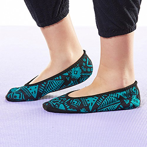 NuFoot Fuzzies Ballet Flats Womens Shoes, Best Foldable & Flexible Flats, Slipper Socks, Travel Slippers & Exercise Shoes, Dance Shoes, Yoga Socks, House Shoes, Indoor Slippers, Paisley, Large Blue Aztec
