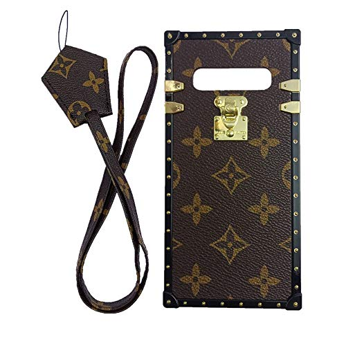 jiehao Samsung Galaxy S10+ Plus Case, Vintage Elegant Luxury Designer Monogram PU Leather Back with Lanyard Soft Bumper Shock Absorption Trunk Case Cover Phone Case for S10+ Plus 6.4