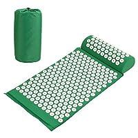 Amzdeal Kit Tapis d'acupression 67x41cm avec Oreiller Portatifs 37x15x10cm et Un Sac en Coton--Vert