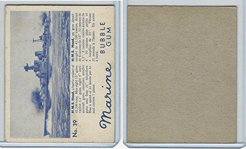 V403-1 World Wide, Marine Bubble Gum, 1944, #39 HMS Hood (Gum Hoods)