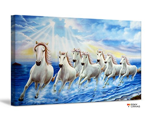 (FoxyCanvas Running Wild Seven Horses Galloping in Dust In Sunset Giclee Canvas Print Stretched and Framed Wall Art for Home and Office Decorations 24x16 inch)