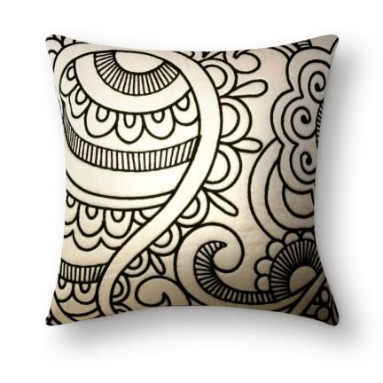 Set of 4 Handmade Dupion Embroidered Beige Black Cushion Covers Pillow Case Contemporary Design Beautiful Decorative IndianShelf Online New