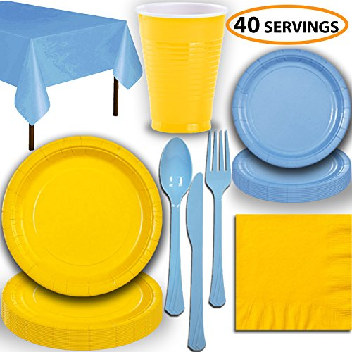 - Disposable Party Supplies, Serves 40 - Yellow and Light Blue - Large and Small Paper Plates, 12 oz Plastic Cups, Heavyweight Cutlery, Napkins, and Tablecloths. Full Two-Tone Tableware Set