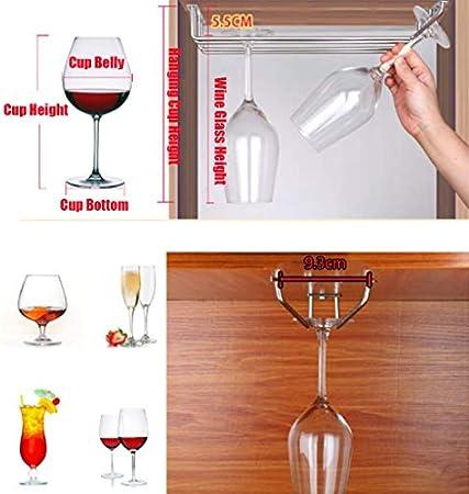 WLABCD Bar Barra de Vino Restaurante Botella de Vino Montada en la Pared Rack, Rack de Copa de Vino 3 Fila Debajo Del Contador de Armario de Pared Rack de Vidrio Montado en la Pared: Sostiene Cualqui