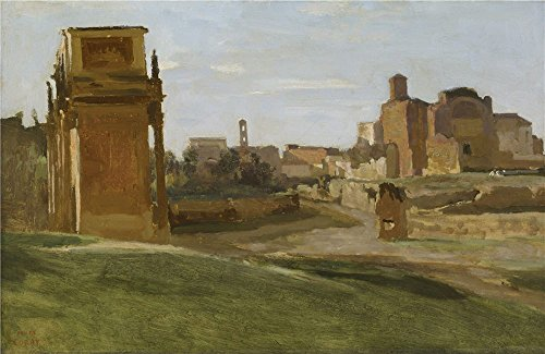 The High Quality Polyster Canvas Of Oil Painting 'Jean-Baptiste-Camille Corot - The Arch Of Constantine And The Forum, Rome, 1843' ,size: 30x46 Inch / 76x117 Cm ,this Vivid Art Decorative Canvas Prints Is Fit For Basement Decor And Home Gallery Art And Gifts (Matte White Floor Model)