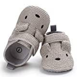 Sabe Infant Baby Warm Fleece Booties Cute Soft Sole Slippers Boys Girls Pram Shoes First Birthday Gift Ac-grey 12-18 Months