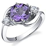 3 Stone Design 1.75 carats Amethyst Ring in Sterling Silver Rhodium Nickel Finish Size 8