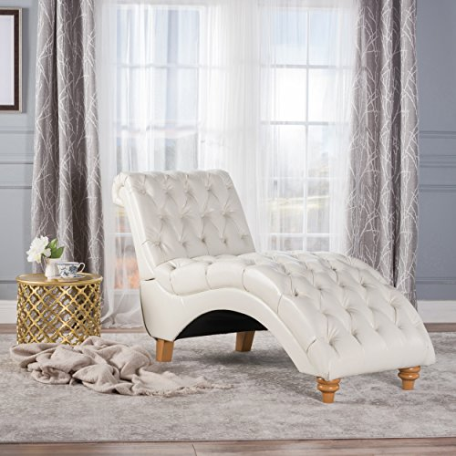 Christopher Knight Home 300336 Rhodes Ivory Leather Chaise,