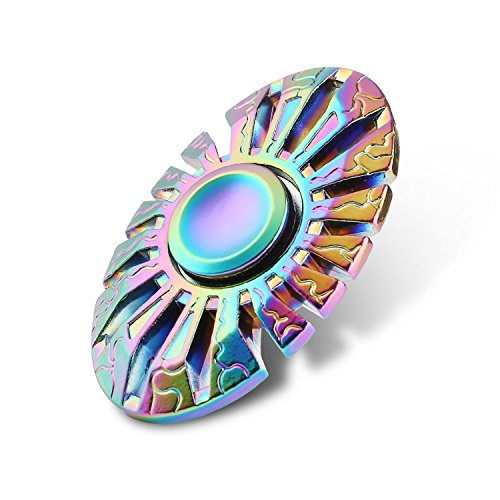 SUPER BOW ATS Toy Egg Oval Shape Colorful Rainbow Hand Spinner Stress Reducer EDC Focus Relieve ()