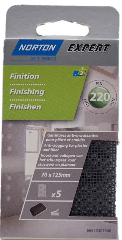 Norton Sandpaper Sheets for Plaster 70 x 125 mm Grit 220 Set of 5 66623307346