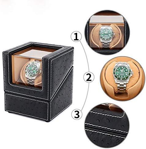 上げ機 自動シングルウォッチワインダー表示ボックスシングルレザーウォッチ収納ボックス電気機械回転時計収納ディスプレイボックス 腕時計ワインディングマシーン (Color : B)