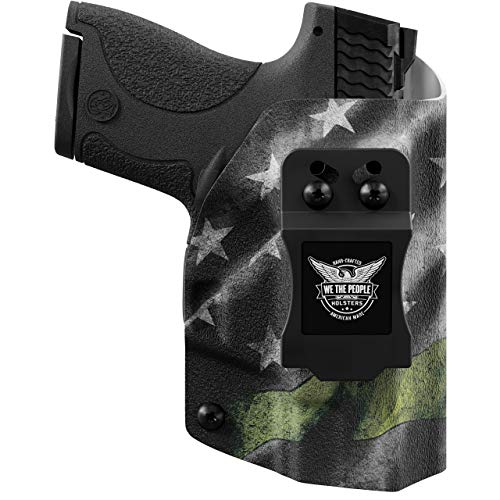 We The People - IWB Holster Compatible with Taser Pulse Gun - Inside Waistband Concealed Carry Kydex Holster (Left Hand, Thin Green Line)