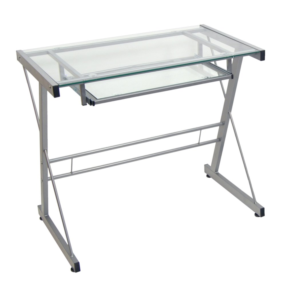 office depot glass computer desk. Amazon.com: Glass And Metal Computer Writing Desk , Clear / Silver: Kitchen \u0026 Dining Office Depot E