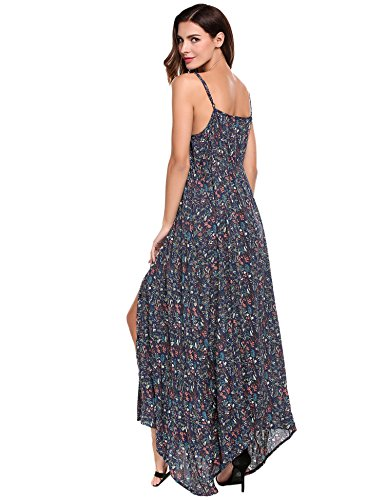 Blackless Split s Flowy Button Dress Women Strap Maxi Sundress Print Floral Blue ACEVOG up HwqSIn1xv5