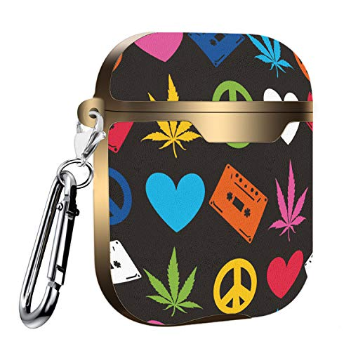 Slim Form Fitted Printing Pattern Cover Case with Carabiner Compatible with Airpods 1 and AirPods 2 / Hippie Pattern with Marijuana Leaf, Peace Sign and casset