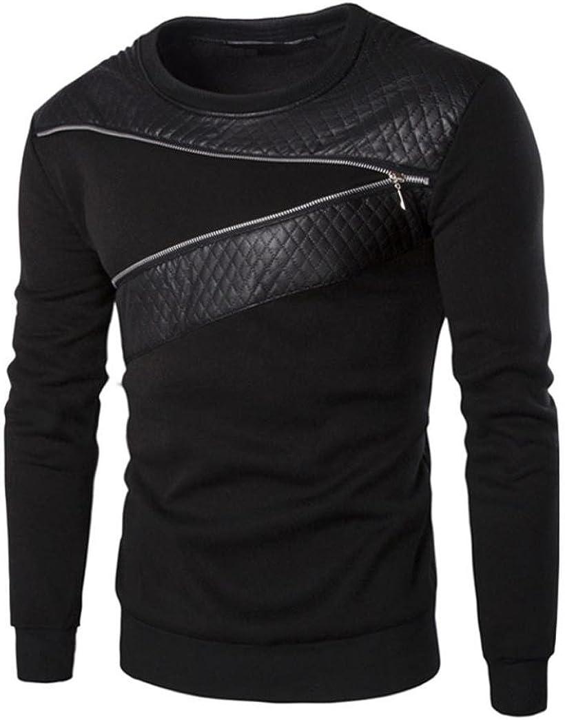 Sudaderas Hombres, Xinan Splicing Chaqueta de Cuero PU Camiseta de Deporte: Amazon.es: Ropa y accesorios