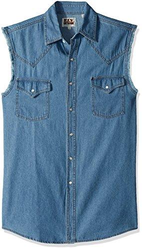 Ely & Walker Men's Sleeveless Bleached Denim Shirt, Medium
