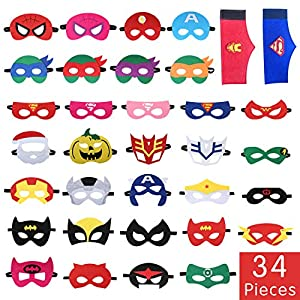Tomus-UNI 34 Pieces Superhero Masks Set,Superhero Party Supplies,Party Favors Half Masks for Children(32 Superhero Masks&2 Superhero Party Bracelets)