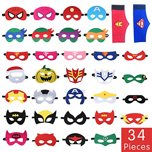 Tomus-UNI 34 Pieces Superhero Masks Set,Superhero Party Supplies,Party Favors Half Masks Children(32 Superhero Masks&2 Superhero Party Bracelets)