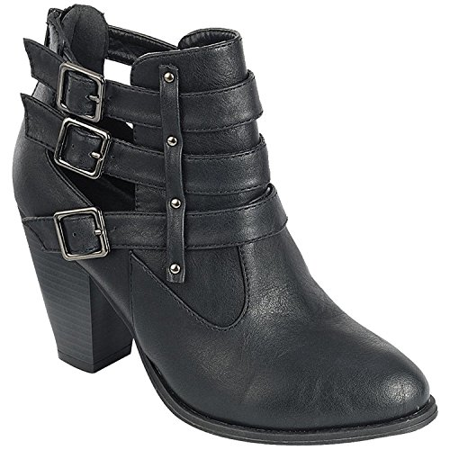 Pu Buckle Forever Black Women's Booties Block Ankle Heel Strap On5Zw8xnp