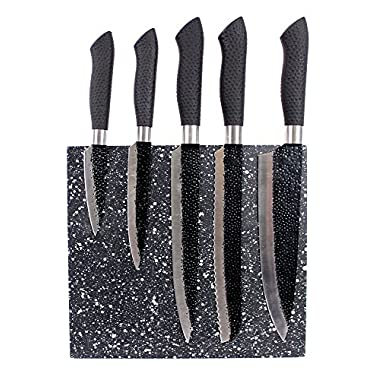 Gourmet Stainless Steel Santoku Chef Knife Set 5 Piece with Magnetic Knife Block