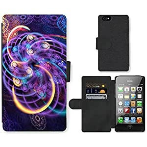 Hot Style Cell Phone Card Slot PU Leather Wallet Case // M99999430 Fractal Art Dreamcatcher // Apple iPhone 4 4S 4G