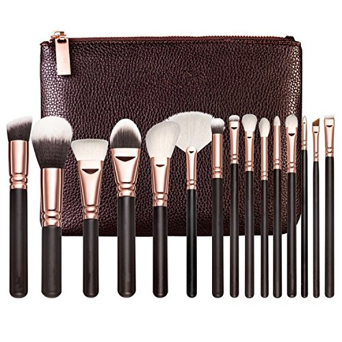 Free Professional Premium 15 Piece Rose Gold Makeup Brush Set with Vegan Makeup Case Hypoallergenic White Silk Synthetic Fibers for Concealer, Blush, Foundation, ()
